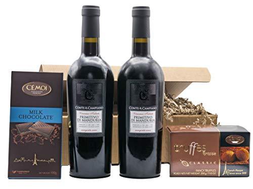 """Präsentkorb """"DOPPIO BENE"""" mit Wein und Schokolade in einem..."""