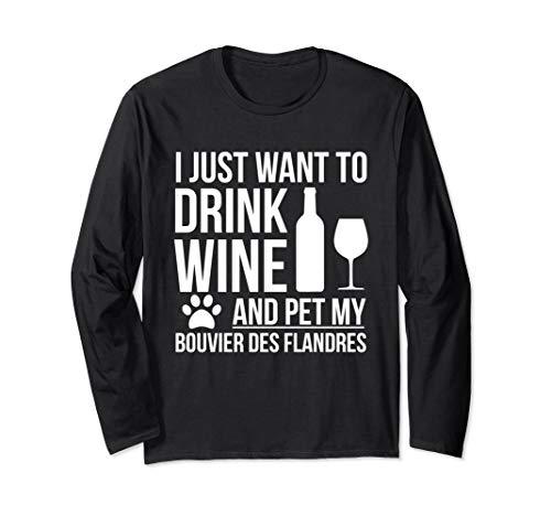 Trinken Wein Haustier mein Bouvier Des Flandres Hund Langarmshirt