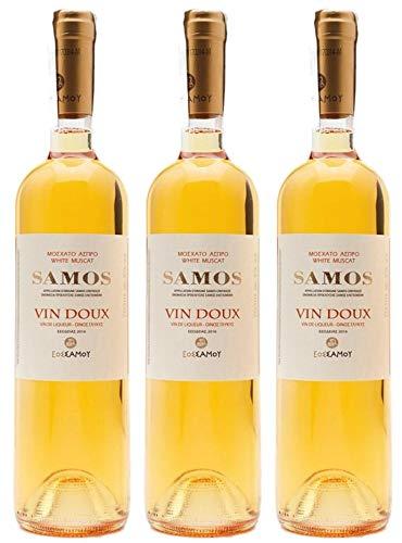 3x 0,75l Samos'Vin Doux' Likörwein weiß süß P.D.O. | 15% Vol. | + 1 x...