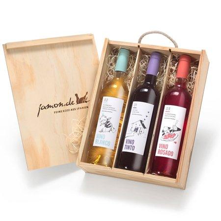 Geschenk für Weinliebhaber | Weingeschenk SPANIEN | Je 1 Flasche Rotwein,...