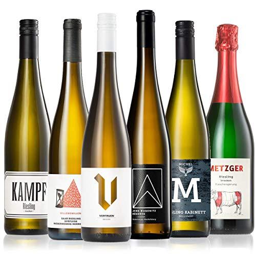 GEILE WEINE Weinpaket RIESLING (6 x 0,75l) Deutscher Weißwein von Winzern...