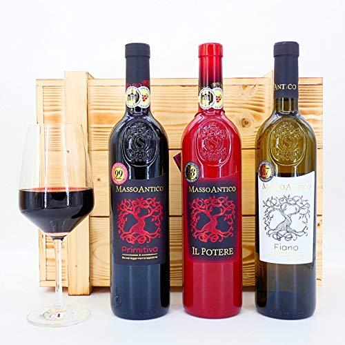 algawe Wein Geschenk Masso 3er Holzkiste   Geschenkbox   Italienischer...