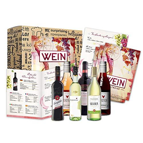 Geschenk Wein Weltreise 6x0,25l als Probierset für Weintrinker...